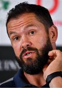 5 September 2019; Defence coach Andy Farrell during an Ireland Rugby press conference at Carton House in Maynooth, Kildare. Photo by Brendan Moran/Sportsfile