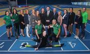 5 September 2019; Sport Ireland today announced a multi-year investment of over €3 million in National Governing Bodies of Sport through the re-launched Women in Sport Programme. Through the Women in Sport Programme, many National Governing Bodies for Sport have developed innovative programmes which target groups of young girls, teenage girls and older adults. While active participation remains important, the areas of leadership, coaching and officiating have become a key focus for many of the National Governing Bodies. In attendance, from left, Irish rugby player Lucy Mulhall, canoeist Jenny Egan, Emma Jane Clarke of Sport Ireland, Una May of Sport Ireland, Sarah Keane, CEO of Swim Ireland, Lynne Cantwell of Sport Ireland, heptathlete Elizabeth Morland, gymnast Emma Slevin, swimmer Niamh Kilgallen, Minister of State for Tourism and Sport Brendan Griffin, Sport Ireland CEO John Treacy, hurdler Sarah Lavin, Frances Kavanagh of Sport Ireland, Mary Dorgan of Sport Ireland, Nora Stapleton, Women in Sport Lead, golfer Hannah Guerin and tennis player Aisling O'Connor during a Sport Ireland Announcement of the multi-year investment in National Governing Bodies of Sport at the National Indoor Arena in Abbotstown, Dublin.  Photo by David Fitzgerald/Sportsfile