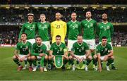 5 September 2019; The Republic of Ireland team, back row, from left to right, Callum Robinson, James McClean, Darren Randolph, Richard Keogh, Shane Duffy and David McGoldrick. Front row, from left to right, Jeff Hendrick, Conor Hourihane, Seamus Coleman, Glenn Whelan and Enda Stevens prior to the UEFA EURO2020 Qualifier Group D match between Republic of Ireland and Switzerland at Aviva Stadium, Dublin. Photo by Stephen McCarthy/Sportsfile