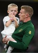 5 September 2019; James McClean of Republic of Ireland and his son Junior James McClean prior to the UEFA EURO2020 Qualifier Group D match between Republic of Ireland and Switzerland at Aviva Stadium, Dublin. Photo by Stephen McCarthy/Sportsfile