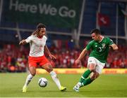 5 September 2019; Michael Lang of Switzerland in action against Enda Stevens of Republic of Ireland during the UEFA EURO2020 Qualifier Group D match between Republic of Ireland and Switzerland at Aviva Stadium, Dublin. Photo by Ben McShane/Sportsfile