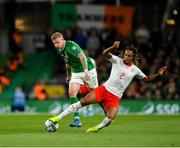 5 September 2019; James McClean of Republic of Ireland in action against Kevin Mbabu of Switzerland during the UEFA EURO2020 Qualifier Group D match between Republic of Ireland and Switzerland at Aviva Stadium, Lansdowne Road in Dublin. Photo by Seb Daly/Sportsfile
