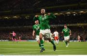 5 September 2019; David McGoldrick of Republic of Ireland celebrates after scoring his side's first goal during the UEFA EURO2020 Qualifier Group D match between Republic of Ireland and Switzerland at Aviva Stadium, Dublin. Photo by Stephen McCarthy/Sportsfile