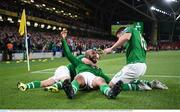 5 September 2019; David McGoldrick of Republic of Ireland celebrates with team-mates after scoring his side's first goal during the UEFA EURO2020 Qualifier Group D match between Republic of Ireland and Switzerland at Aviva Stadium, Dublin. Photo by Stephen McCarthy/Sportsfile