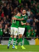 5 September 2019; James McClean of Republic of Ireland, left, is congratulated by team-mate Shane Duffy after providing the assist for their side's first goal during the UEFA EURO2020 Qualifier Group D match between Republic of Ireland and Switzerland at Aviva Stadium, Lansdowne Road in Dublin. Photo by Seb Daly/Sportsfile