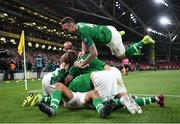 5 September 2019; Republic of Ireland players celebrate after David McGoldrick scored their side's first goal during the UEFA EURO2020 Qualifier Group D match between Republic of Ireland and Switzerland at Aviva Stadium, Dublin. Photo by Stephen McCarthy/Sportsfile