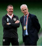 5 September 2019; Republic of Ireland manager Mick McCarthy and goalkeeping coach Alan Kelly, left, during the UEFA EURO2020 Qualifier Group D match between Republic of Ireland and Switzerland at Aviva Stadium, Lansdowne Road in Dublin. Photo by Stephen McCarthy/Sportsfile