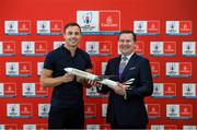 """6 September 2019: Rugby World Cup season kicked off today at a preview of Rugby World Cup 2019™ with Emirates and Wayne Barnes. One of the best-known officials in the game, Barnes took part in a Q&A with former Irish international, Tommy Bowe, to highlight Emirates' association with rugby.  Emirates first sponsored Rugby World Cup (RWC) 2007 in France, then became a Worldwide Partner for RWC 2011, 2015, and now the tournament in Japan 2019™. Rugby has been a part of Emirates' portfolio for more than 20 years, since the company became the Title Sponsor of the Emirates Airline Dubai Rugby Sevens, part of the HSBC Sevens World Series. Emirates is also proud to sponsor the Cape Town Sevens, the first event of the 2019/2020 Series. Enda Corneille, Country Manager for Emirates in Ireland, commented: """"Rugby World Cup is one of the most iconic sporting events with a huge following in Ireland and Emirates is proud of its long-standing association with the game. At every international rugby match, World Rugby's™ elite panel of referees take to the field in their Emirates Fly Better kit. """"Emirates bring people and cultures together, just as rugby brings people together through a shared passion for sport. We connect Ireland to more than 150 destinations, including Japan for Rugby World Cup 2019™."""" Ireland will kick off its first match against Scotland on Sunday 22 September. Former Ireland International Tommy Bowe with Enda Corneille Emirates Country Manager Ireland in attendance during the Emirates Rugby World Cup Preview at Merrion Hotel in Dublin. Photo by Matt Browne/Sportsfile"""