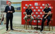 """6 September 2019: Rugby World Cup season kicked off today at a preview of Rugby World Cup 2019™ with Emirates and Wayne Barnes. One of the best-known officials in the game, Barnes took part in a Q&A with former Irish international, Tommy Bowe, to highlight Emirates' association with rugby.  Emirates first sponsored Rugby World Cup (RWC) 2007 in France, then became a Worldwide Partner for RWC 2011, 2015, and now the tournament in Japan 2019™. Rugby has been a part of Emirates' portfolio for more than 20 years, since the company became the Title Sponsor of the Emirates Airline Dubai Rugby Sevens, part of the HSBC Sevens World Series. Emirates is also proud to sponsor the Cape Town Sevens, the first event of the 2019/2020 Series. Enda Corneille, Country Manager for Emirates in Ireland, commented: """"Rugby World Cup is one of the most iconic sporting events with a huge following in Ireland and Emirates is proud of its long-standing association with the game. At every international rugby match, World Rugby's™ elite panel of referees take to the field in their Emirates Fly Better kit. """"Emirates bring people and cultures together, just as rugby brings people together through a shared passion for sport. We connect Ireland to more than 150 destinations, including Japan for Rugby World Cup 2019™."""" Ireland will kick off its first match against Scotland on Sunday 22 September. Enda Corneille Emirates Country Manager Ireland with  Referee Wayne Barnes and former Ireland International Tommy Bowe in attendance during the Emirates Rugby World Cup Preview at Merrion Hotel in Dublin. Photo by Matt Browne/Sportsfile"""