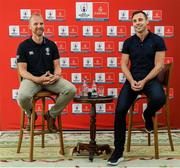 "6 September 2019: Rugby World Cup season kicked off today at a preview of Rugby World Cup 2019™ with Emirates and Wayne Barnes. One of the best-known officials in the game, Barnes took part in a Q&A with former Irish international, Tommy Bowe, to highlight Emirates' association with rugby.  Emirates first sponsored Rugby World Cup (RWC) 2007 in France, then became a Worldwide Partner for RWC 2011, 2015, and now the tournament in Japan 2019™. Rugby has been a part of Emirates' portfolio for more than 20 years, since the company became the Title Sponsor of the Emirates Airline Dubai Rugby Sevens, part of the HSBC Sevens World Series. Emirates is also proud to sponsor the Cape Town Sevens, the first event of the 2019/2020 Series. Enda Corneille, Country Manager for Emirates in Ireland, commented: ""Rugby World Cup is one of the most iconic sporting events with a huge following in Ireland and Emirates is proud of its long-standing association with the game. At every international rugby match, World Rugby's™ elite panel of referees take to the field in their Emirates Fly Better kit. ""Emirates bring people and cultures together, just as rugby brings people together through a shared passion for sport. We connect Ireland to more than 150 destinations, including Japan for Rugby World Cup 2019™."" Ireland will kick off its first match against Scotland on Sunday 22 September. Former Ireland International Tommy Bowe with Referee Wayne Barnes in attendance during the Emirates Rugby World Cup Preview at Merrion Hotel in Dublin. Photo by Matt Browne/Sportsfile"