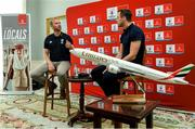 """6 September 2019: Rugby World Cup season kicked off today at a preview of Rugby World Cup 2019™ with Emirates and Wayne Barnes. One of the best-known officials in the game, Barnes took part in a Q&A with former Irish international, Tommy Bowe, to highlight Emirates' association with rugby.  Emirates first sponsored Rugby World Cup (RWC) 2007 in France, then became a Worldwide Partner for RWC 2011, 2015, and now the tournament in Japan 2019™. Rugby has been a part of Emirates' portfolio for more than 20 years, since the company became the Title Sponsor of the Emirates Airline Dubai Rugby Sevens, part of the HSBC Sevens World Series. Emirates is also proud to sponsor the Cape Town Sevens, the first event of the 2019/2020 Series. Enda Corneille, Country Manager for Emirates in Ireland, commented: """"Rugby World Cup is one of the most iconic sporting events with a huge following in Ireland and Emirates is proud of its long-standing association with the game. At every international rugby match, World Rugby's™ elite panel of referees take to the field in their Emirates Fly Better kit. """"Emirates bring people and cultures together, just as rugby brings people together through a shared passion for sport. We connect Ireland to more than 150 destinations, including Japan for Rugby World Cup 2019™."""" Ireland will kick off its first match against Scotland on Sunday 22 September. Referee Wayne with former Ireland International Tommy Bowe in attendance during the Emirates Rugby World Cup Preview at Merrion Hotel in Dublin. Photo by Matt Browne/Sportsfile"""