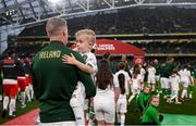 5 September 2019; James McClean of Republic of Ireland accompanied by his son Junior walks out prior to the UEFA EURO2020 Qualifier Group D match between Republic of Ireland and Switzerland at Aviva Stadium, Lansdowne Road in Dublin. Photo by Stephen McCarthy/Sportsfile