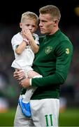 5 September 2019; Republic of Ireland's James McClean and his son Junior prior to the UEFA EURO2020 Qualifier Group D match between Republic of Ireland and Switzerland at Aviva Stadium, Lansdowne Road in Dublin. Photo by Stephen McCarthy/Sportsfile