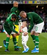 5 September 2019; Republic of Ireland's James McClean and his son Junior with Seamus Coleman prior to the UEFA EURO2020 Qualifier Group D match between Republic of Ireland and Switzerland at Aviva Stadium, Lansdowne Road in Dublin. Photo by Stephen McCarthy/Sportsfile