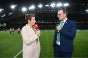 5 September 2019; Referee Michelle O'Neill is interviewed by Daniel Kelly of the FAI during the UEFA EURO2020 Qualifier Group D match between Republic of Ireland and Switzerland at Aviva Stadium, Lansdowne Road in Dublin. Photo by Stephen McCarthy/Sportsfile