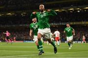 5 September 2019; David McGoldrick of Republic of Ireland celebrates after scoring his side's goal during the UEFA EURO2020 Qualifier Group D match between Republic of Ireland and Switzerland at Aviva Stadium, Lansdowne Road in Dublin. Photo by Stephen McCarthy/Sportsfile