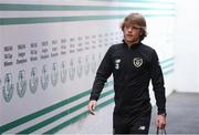 6 September 2019; Luca Connell arrives prior to the UEFA European U21 Championship Qualifier Group 1 match between Republic of Ireland and Armenia at Tallaght Stadium in Tallaght, Dublin. Photo by Stephen McCarthy/Sportsfile
