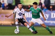 6 September 2019; Daire O'Connor of Cork City in action against Dean Jarvis of Dundalk during the SSE Airtricity League Premier Division match between Dundalk and Cork City at Oriel Park in Dundalk, Co. Louth. Photo by Ben McShane/Sportsfile