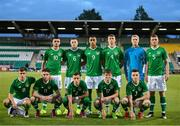 6 September 2019; The Republic of Ireland team, back row, from left to right, Troy Parrott, Conor Coventry, Adam Iah, Conor Masterson, Caoimhin Kelleher and Dara O'Shea. Front row, from left to right, Jayson Molumby, Aaron Connolly, Lee O'Connor, Gavin Kilkenny and Darragh Leahy prior to the UEFA European U21 Championship Qualifier Group 1 match between Republic of Ireland and Armenia at Tallaght Stadium in Tallaght, Dublin. Photo by Stephen McCarthy/Sportsfile