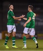 6 September 2019; Troy Parrott of Republic of Ireland celebrates after scoring his side's first goal, with team-mate Conor Masterson, right, during the UEFA European U21 Championship Qualifier Group 1 match between Republic of Ireland and Armenia at Tallaght Stadium in Tallaght, Dublin. Photo by Stephen McCarthy/Sportsfile