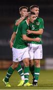 6 September 2019; Troy Parrott is congratulated by his Republic of Ireland team-mates Conor Masterson and Dara O'Shea after scoring his side's first goal during the UEFA European U21 Championship Qualifier Group 1 match between Republic of Ireland and Armenia at Tallaght Stadium in Tallaght, Dublin. Photo by Stephen McCarthy/Sportsfile
