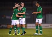 6 September 2019; Troy Parrott is congratulated by his Republic of Ireland team-mates, from left, Conor Masterson, Dara O'Shea and Adam Idah after scoring his side's first goal during the UEFA European U21 Championship Qualifier Group 1 match between Republic of Ireland and Armenia at Tallaght Stadium in Tallaght, Dublin. Photo by Stephen McCarthy/Sportsfile