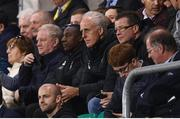 6 September 2019; Republic of Ireland manager Mick McCarthy, centre, with assistant coach Terry Connor, left, and FAI Director of Communications Cathal Dervan, watches on during the UEFA European U21 Championship Qualifier Group 1 match between Republic of Ireland and Armenia at Tallaght Stadium in Tallaght, Dublin. Photo by Stephen McCarthy/Sportsfile