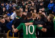 6 September 2019; Troy Parrott of Republic of Ireland with supporters following the UEFA European U21 Championship Qualifier Group 1 match between Republic of Ireland and Armenia at Tallaght Stadium in Tallaght, Dublin. Photo by Stephen McCarthy/Sportsfile