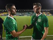 6 September 2019; Zack Elbouzedi, left, and Conor Masterson of Republic of Ireland following the UEFA European U21 Championship Qualifier Group 1 match between Republic of Ireland and Armenia at Tallaght Stadium in Tallaght, Dublin. Photo by Stephen McCarthy/Sportsfile