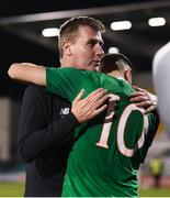 6 September 2019; Republic of Ireland U21 manager Stephen Kenny and Troy Parrott following the UEFA European U21 Championship Qualifier Group 1 match between Republic of Ireland and Armenia at Tallaght Stadium in Tallaght, Dublin. Photo by Stephen McCarthy/Sportsfile