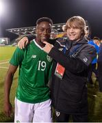 6 September 2019; Jonathan Afolabi, left, and Luca Connell of Republic of Ireland following the UEFA European U21 Championship Qualifier Group 1 match between Republic of Ireland and Armenia at Tallaght Stadium in Tallaght, Dublin. Photo by Stephen McCarthy/Sportsfile