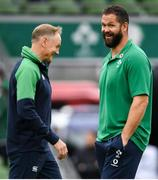 7 September 2019; Ireland head coach Joe Schmidt, left and Ireland defensive coach Andy Farrell prior to the Guinness Summer Series match between Ireland and Wales at Aviva Stadium in Dublin. Photo by Ramsey Cardy/Sportsfile