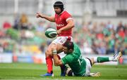 7 September 2019; Leigh Halfpenny of Wales is tackled by Robbie Henshaw of Ireland during the Guinness Summer Series match between Ireland and Wales at Aviva Stadium in Dublin. Photo by David Fitzgerald/Sportsfile