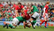 7 September 2019; Ross Moriarty of Wales is tackled by Jean Kleyn, left, and Robbie Henshaw of Ireland during the Guinness Summer Series match between Ireland and Wales at Aviva Stadium in Dublin. Photo by David Fitzgerald/Sportsfile
