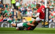 7 September 2019; Hadleigh Parkes of Wales is tackled by Robbie Henshaw of Ireland during the Guinness Summer Series match between Ireland and Wales at Aviva Stadium in Dublin. Photo by David Fitzgerald/Sportsfile