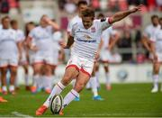 7 September 2019; Billy Burns of Ulster kicks a conversion during the Pre-season Friendly match between Ulster and Glasgow Warriors at Kingspan Stadium in Belfast. Photo by Oliver McVeigh/Sportsfile