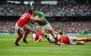 7 September 2019; Rob Kearney of Ireland on his way to scoring his side's first try despite the tackle from Leigh Halfpenny of Wales during the Guinness Summer Series match between Ireland and Wales at Aviva Stadium in Dublin.Photo by Brendan Moran/Sportsfile
