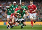 7 September 2019; Robbie Henshaw of Ireland is tackled by Josh Adams of Wales during the Guinness Summer Series match between Ireland and Wales at the Aviva Stadium in Dublin. Photo by Ramsey Cardy/Sportsfile