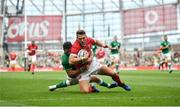 7 September 2019; Dan Biggar of Wales is tackled by Robbie Henshaw of Ireland during the Guinness Summer Series match between Ireland and Wales at Aviva Stadium in Dublin. Photo by David Fitzgerald/Sportsfile