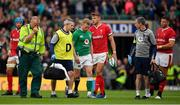 7 September 2019; Keith Earls of Ireland leaves the pitch accompanied by team doctor Dr. Ciaran Cosgrove during the Guinness Summer Series match between Ireland and Wales at Aviva Stadium in Dublin. Photo by Brendan Moran/Sportsfile
