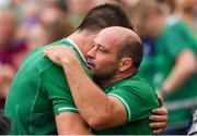 7 September 2019; Ireland captain Rory Best with Jean Kleyn, left, after being substituted during the Guinness Summer Series match between Ireland and Wales at Aviva Stadium in Dublin. Photo by Brendan Moran/Sportsfile