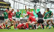 7 September 2019; Ireland players celebrate a try by team-mate Tadhg Furlong during the Guinness Summer Series match between Ireland and Wales at the Aviva Stadium in Dublin. Photo by Ramsey Cardy/Sportsfile