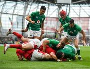 7 September 2019; James Ryan, bottom right, of Ireland goes over to score his side's third try during the Guinness Summer Series match between Ireland and Wales at Aviva Stadium in Dublin.Photo by David Fitzgerald/Sportsfile