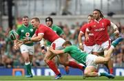 7 September 2019; George North of Wales is tackled by Garry Ringrose of Ireland during the Guinness Summer Series match between Ireland and Wales at Aviva Stadium in Dublin. Photo by Ramsey Cardy/Sportsfile
