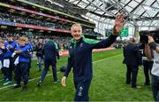 7 September 2019; Ireland head coach Joe Schmidt waves goodbye after the Guinness Summer Series match between Ireland and Wales at Aviva Stadium in Dublin. Photo by Brendan Moran/Sportsfile