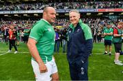 7 September 2019; Ireland captain Rory Best, left, and head coach Joe Schmidt after the Guinness Summer Series match between Ireland and Wales at Aviva Stadium in Dublin. Photo by Brendan Moran/Sportsfile