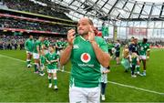 7 September 2019; Ireland captain Rory Best applauds supporters after the Guinness Summer Series match between Ireland and Wales at Aviva Stadium in Dublin. Photo by Brendan Moran/Sportsfile