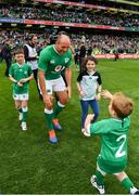 7 September 2019; Ireland captain Rory Best with his children Ben, Penny and Richie, right, after the Guinness Summer Series match between Ireland and Wales at Aviva Stadium in Dublin. Photo by Brendan Moran/Sportsfile
