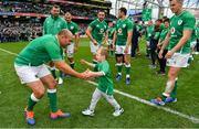 7 September 2019; Ireland captain Rory Best is greeted by Luca Sexton, son of Jonathan Sexton, after the Guinness Summer Series match between Ireland and Wales at Aviva Stadium in Dublin. Photo by Brendan Moran/Sportsfile