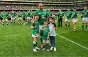 7 September 2019; Ireland captain Rory Best, with his children Ben, Penny and Richie after the Guinness Summer Series match between Ireland and Wales at Aviva Stadium in Dublin. Photo by Brendan Moran/Sportsfile